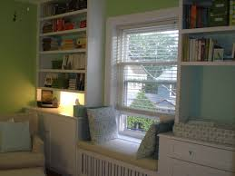 window seat furniture. Furniture. White Wooden Bookshelves With Window Seat Having Cream Puff And Cushions On Furniture U