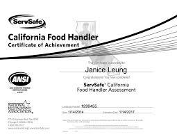Food Handling License California Food