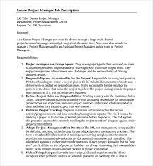 Project Manager Job Description Sample Job Description Template 9 Free Documents Download