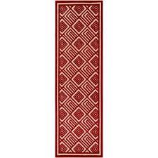 ichoris dark red 3 ft x 8 ft indoor outdoor runner rug