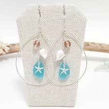 starfish sea gl teardrop earrings handmade in hawaii beach jewelry handmade 8htkwv9d0