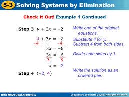 holt mcdougal algebra 1 5 3 solving systems by elimination step 3 y 3x