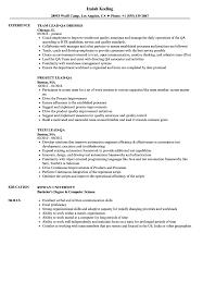 Lead Qa Resume Samples Velvet Jobs