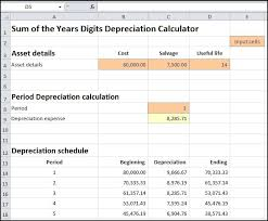 Depreciation Schedule Calculator Sum Of Years Depreciation Calculator Double Entry Bookkeeping