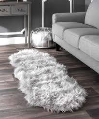 gray terrell faux sheepskin rug rug pad