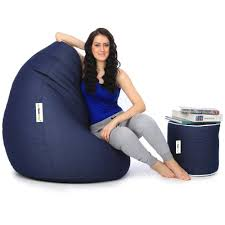 can l denim bean bag and round pouffe with beans blue in home kitchen