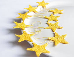 Christmas decorations garland stars set of 10 Cotton crochet yellow  decorations.