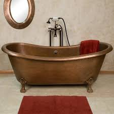 Bathrooms:Classic Bathroom With Clawfoot Copper Bathtub Feat Red Towel And  Small Ref Rug Classic