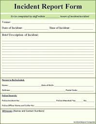 Incident Report Template Free Business Incident Report