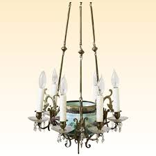 fabulous antique french turquoise majolica chandelier with birds flowers