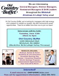 restaurant manager jobs in allentown lehigh valley whitehall pa old country buffet
