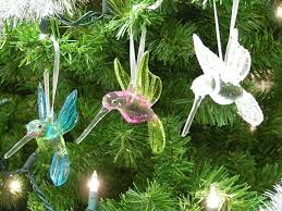 Hummingbird Christmas Glass Ornaments With Glitter Accents Xmas Tree  Ornament