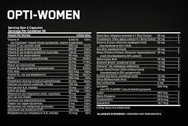 optimum nutrition opti women 60capsules ings