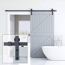Single Design Door Elicit 8ft Single Barn Door Hardware Classic Design Standard Track With Upgraded Nylon Bearings For 42in 48in Wide Sliding Doorpanel Easy