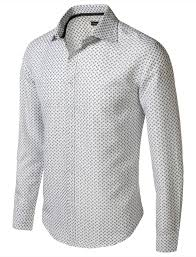 Patterned Dress Shirts Simple 48Encounter Men's Spread Collar Patterned Print Long Sleeve Dress