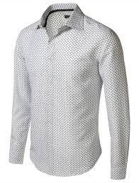 Men's Patterned Dress Shirts Cool 48Encounter Men's Spread Collar Patterned Print Long Sleeve Dress