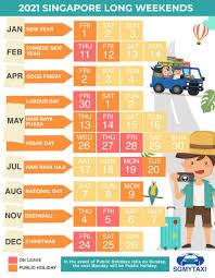 Public & School Holidays Singapore 2020 & 2021 (20 Long Weekends)