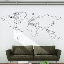 wall stickers for office. World Map Outline Wall Decal Stickers For Office