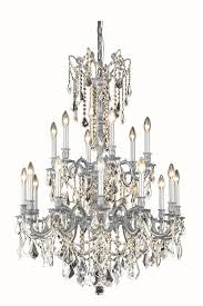 elegant lighting 9218d32pw ec rosalia 18 light crystal chandelier in pewter with elegant cut crystal clear