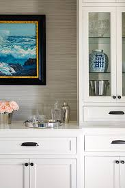 dining room cabinet. Built In Buffet Cabinet With Grass Grasscloth Wallpaper Dining Room O