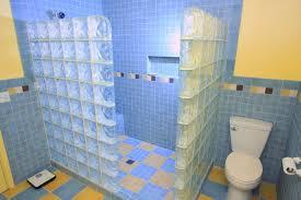 bathroom glass tile shower. glass block wall and tile shower bathroom