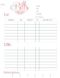 bill organizer template bill organizer template newest 10 printable monthly bills regarding