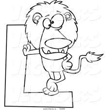 Vector Of A Cartoon Lion Leaning Against A Letter L Coloring