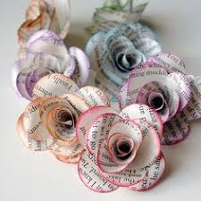 12 handmade paper roses from repurposed book pages