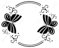 黒と白のシルエットは蝶とフレームをラウンドしますベクター クリップ アート