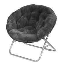 Amazon.com: Urban Shop Faux Fur Saucer Chair with Metal Frame, One Size,  Black: Toys & Games