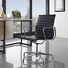 lexmod ribbed mid office. LexMod Ribbed Mid Back Conference Office Side Chair In Black Genuine Leather Lexmod N