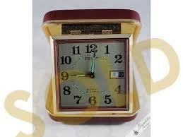vintage seiko 2 jewels windup travel alarm clock burdy made in