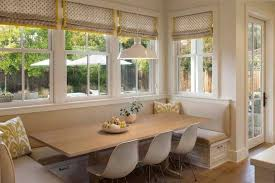 Classic Breakfast Nook Decorating Ideas With L Shaped Mounted Benches And  Solid Wooden Dining Table