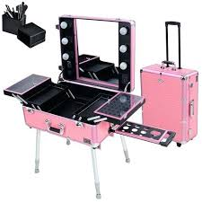 makeup train case with lights pink rolling makeup train case with lights stand nyx makeup artist