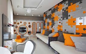 creative kids room design - orange gray puzzle style