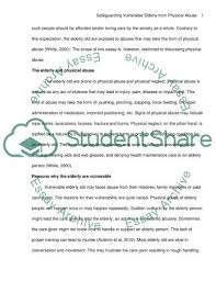 safeguarding vulnerable elderly from physical abuse essay  text preview