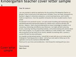 Collection Of Solutions Kindergarten Teacher Cover Letter On Resume