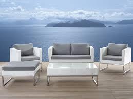 patio conversation set  white rattan  crema