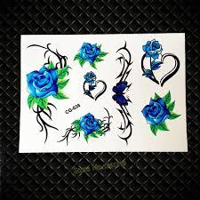 купить оптом 3d Blue Fashion Flower временные татуировки для женщин