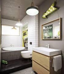 modern bathroom subway tile. Wonderful Tile Bare Concrete Wall Enhanced By A Subway Tiled Statement Wall Set The  Extremely Cool And Industrial Concept Of This Ultra Modern Bathroom On Modern Bathroom Subway Tile N