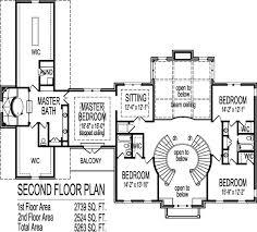 Story House Floor Plans Blueprint Bedroom Car Garage      Colonial Home Plans Circular Stair SF Story BR Bath Car Garage