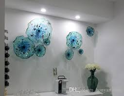 2019 blue flower plates wall art italian style blown glass hanging plates wall art decor murano glass plate for living room dining room from honyartglass