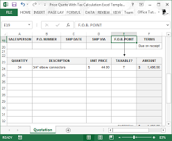 Price Quote With Tax Calculation Template For Excel Beauteous Price Quote