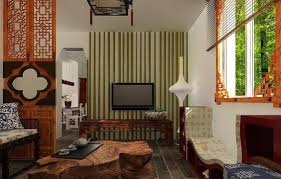 Bamboo Tv Wall Chinese Living Room Interior Design