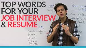 top words for your job interview resume