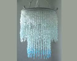 sea glass chandelier. Sea Glass Chandelier Lighting Fixture Coastal Decor Blue Ombre Beach Hanging Light Ceiling House Dining Room M