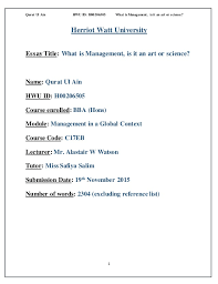 management in a global context essay qurat ul ain hwu id h00206505 what is management is it an art or