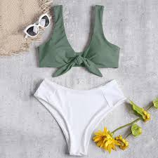 Zaful Swimwear Size Chart Zaful 2019 Front Tied Color Block High Rise Bikini Two Tone