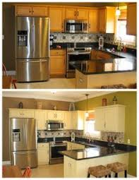 painted brown kitchen cabinets before and after. Delighful Brown Before And After Annie Sloan ASCP Cream Before After Chalk Paint   Sloan Kitchen CabinetsPainted  Intended Painted Brown Cabinets And After O