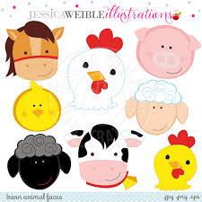 farm barn clip art. 570x570 Barn Animal Faces Cute Digital Clipart Commercial Use OK Farm Clip Art 1